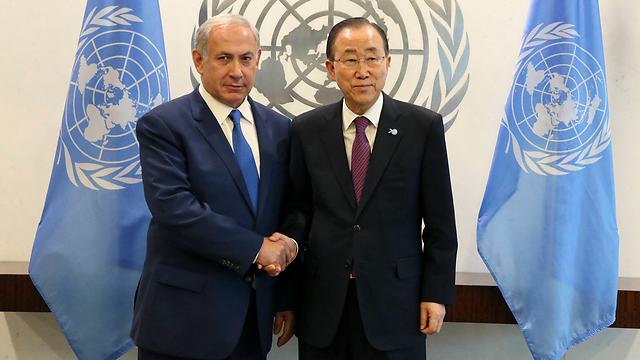 Sec.-Gen. Ban and PM Netanyahu at the UN. (Photo: AP)