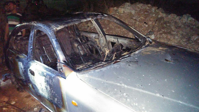 Burnt Palestinian car