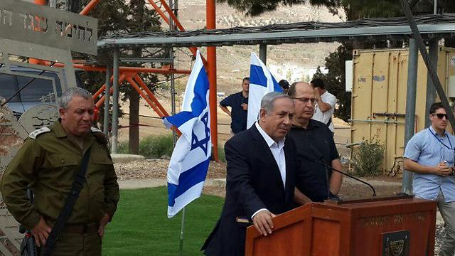 Netanyahu during his West Bank tour on Tuesday