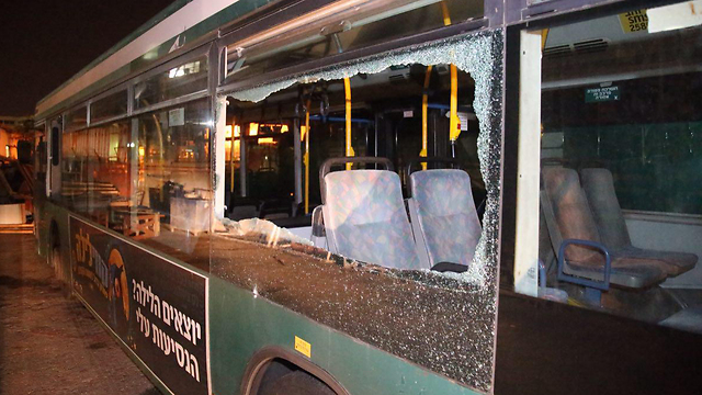 The damaged bus in Jaffa. (Photo: Moti Kimchi)