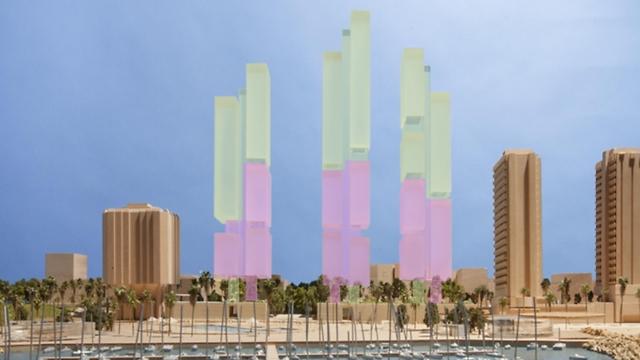 """הדמיית המגדלים. """"אם העירייה רוצה להפוך את הכיכר לפארק, היא תצטרך להכניס את היד עמוק לכיס"""" (הדמיה: פוסטר ושות' אדריכלים לונדון, ישר אדריכלים)"""