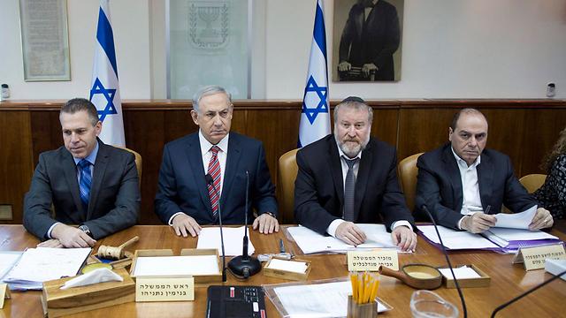 Benjamin Netanyahu at the weekly cabinet meeking, discussing the wave of terror. (Photo: EPA)