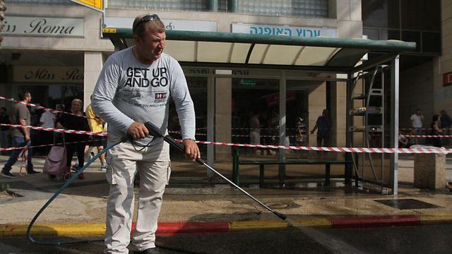 זירת הפיגוע ברעננה (צילום: עידו ארז) (צילום: עידו ארז)