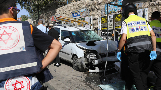 Abu Jamal's vehicle after the terror attack on Tuesday (Photo: AP)