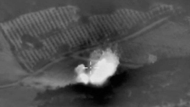 Satellite photo of a Russian airstrike on Islamic State-held territory. (Photo: AP)