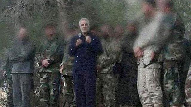 סולימאני בסוריה. על פי הדיווחים, הוא נפצע ()
