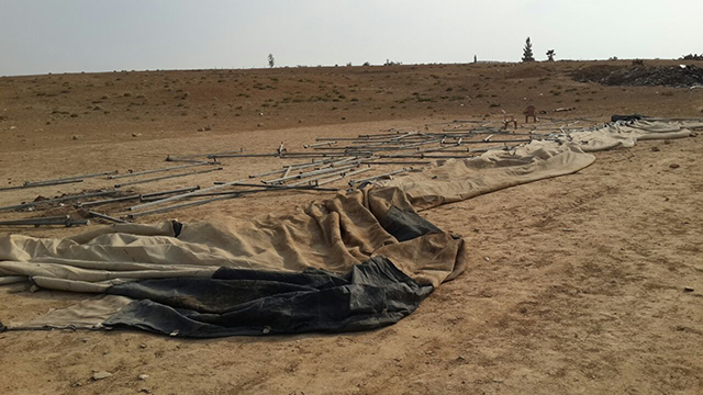 The al-Okbi family's mourning tent was taken down at the police's orders
