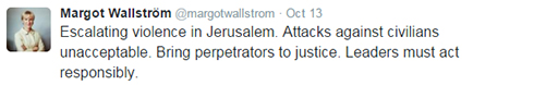Wallstrom's tweet. Doesn't mention terroism.