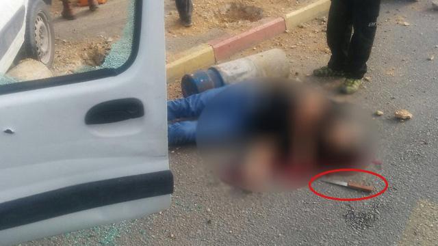 המחבל שביצע את פיגוע הדריסה עם הסכין לידו (צילום: TPS) (צילום: TPS)