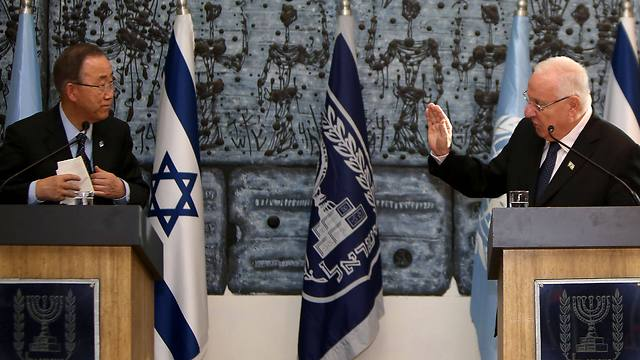 Ban and Rivlin address the press at the President's Residence in Jerusalem (Photo: AFP)