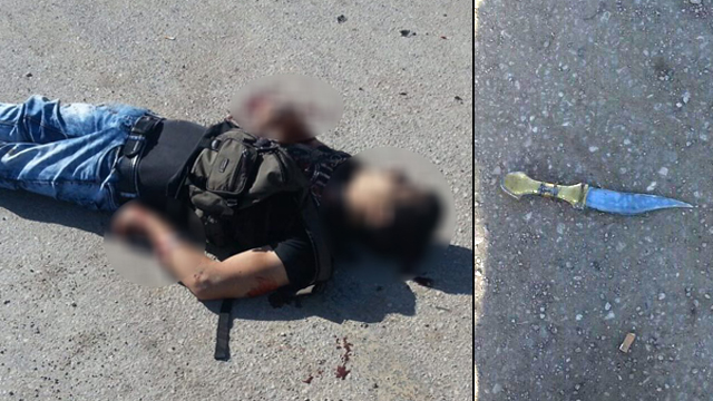 Dead terrorist and knife used in attack