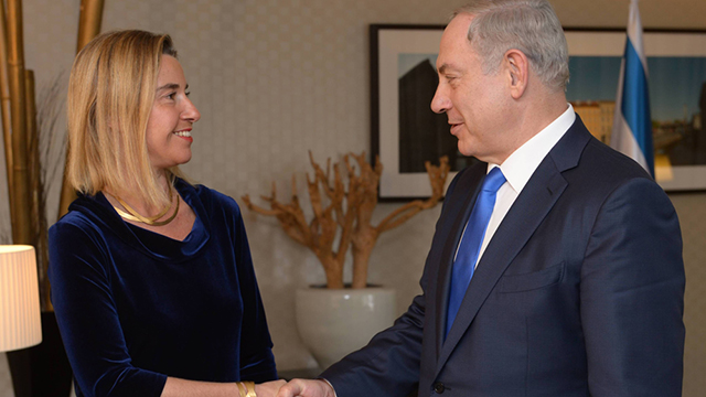 Prime Minister Netanyahu, right, meets with the EU's foreign policy chief Federica Mogherini (Photo: Amos Ben Gershom, GPO)