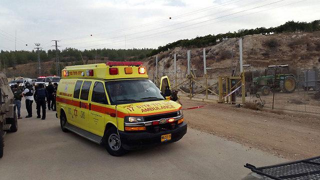Ambulance at the scene of the attack (Photo: MDA Jerusalem)