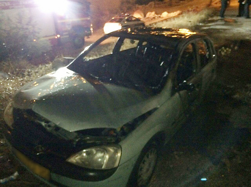 """Price Tag"" attack on a Palestinian vehicle (Photo: Jerusalem Fire Services)"