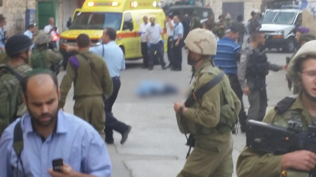 Scene of the attempted stabbing. (Photo: Hebron Security Department)