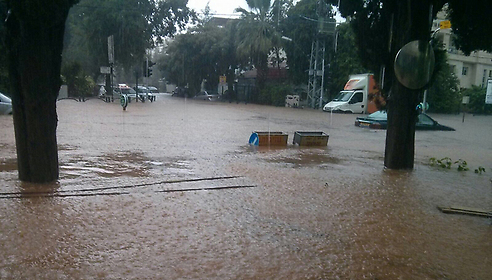 Flooding in Raanana (Photo: Hen Truman)