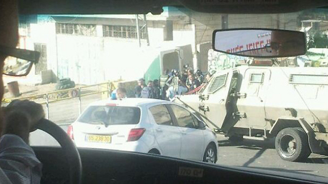 The scene of the incident in Hebron. (Photo: Tazpit Press Service)