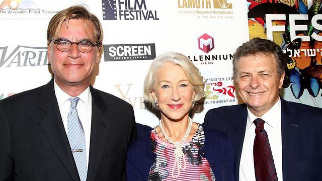 Israel Film Festival founder Meir Fenigstein with Helen Mirren and Aaron Sorkin (Photo: Getty Images)