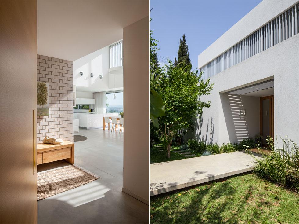 הדלת מוקמה במרכז הבית: מימינה החלל הפתוח לנוף של הסלון, פינת המשפחה, המטבח ופינת האוכל. משמאל חדרי השינה (צילום: עמית גרון)