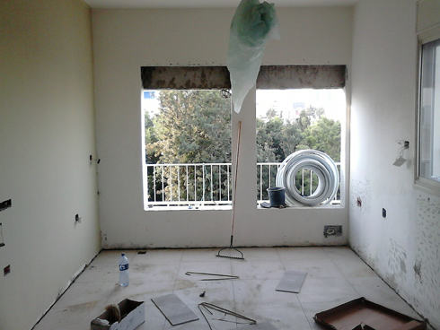 החלונות הורחבו כלפי מטה, והסלון טובל בצמרות העצים