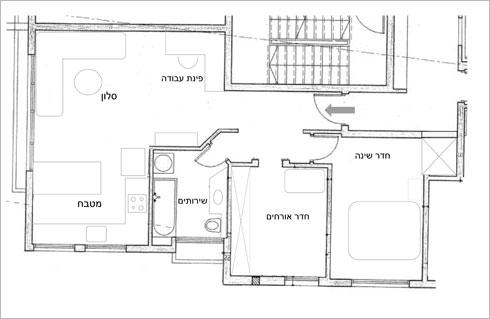 תוכנית הדירה לפני השיפוץ (תכנית: אריאל וכסלר )