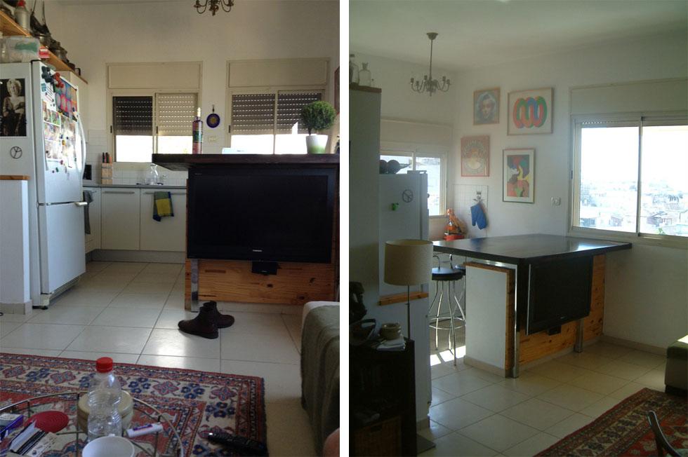 הדירה לפני: דירה קבלנית בקומה הרביעית, הנהנית מנוף פתוח בזכות גני הילדים הצמודים. שני החלונות היו מבוזבזים במטבח, ווכסלר החליט להופכו לסלון