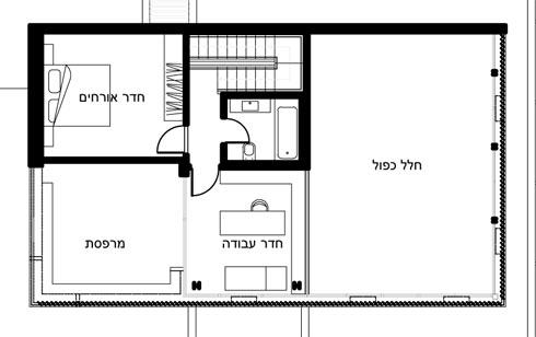תוכנית הקומה העליונה: מימין החלל הכפול של הסלון, משמאל חדר עבודה, חדר אורחים ומרפסת גדולה (תכנית: יעקבס-יניב אדריכלים)