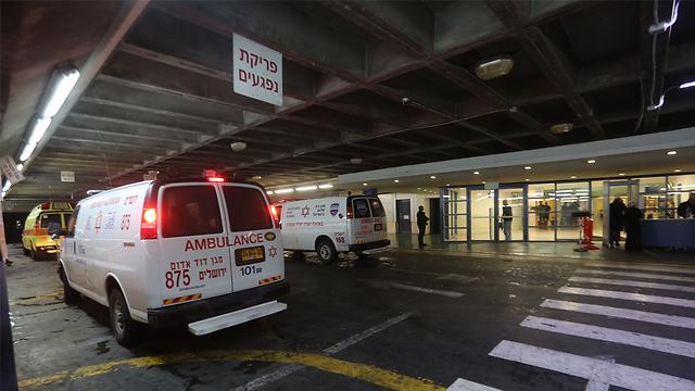 הגעת הפצועים לבית החולים שערי צדק, הערב (צילום: גיל יוחנן) (צילום: גיל יוחנן)
