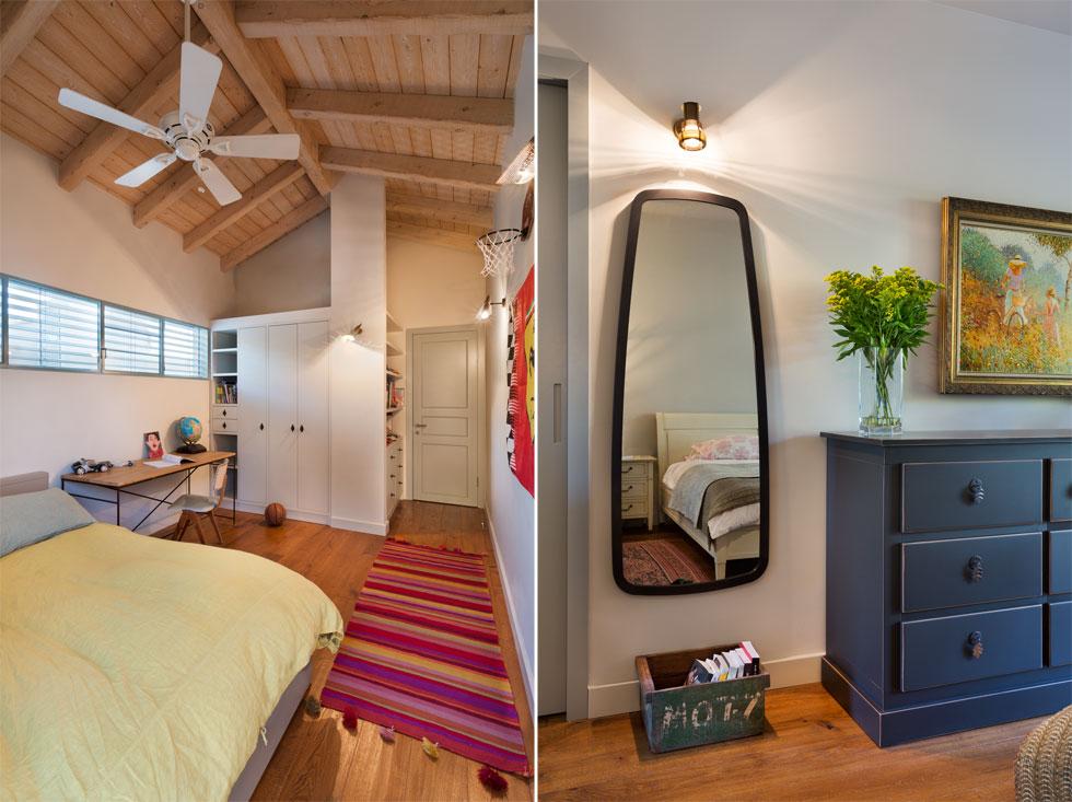 מימין: המראה והשידה בחדר ההורים (את חדר הרחצה שלהם אפשר לראות בתמונה הבאה). משמאל: חדרו של הבן הבכור, בקומה העליונה (צילום: אסף פינצ'וק)