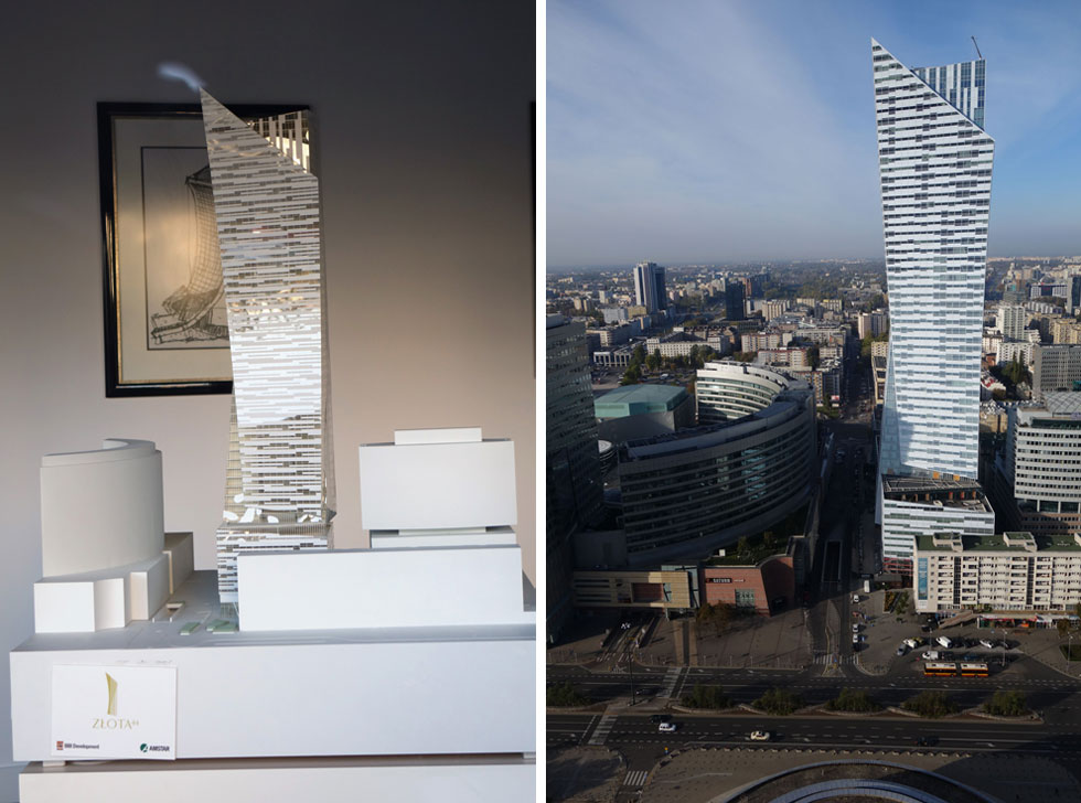 המודל עומד בביתן המכירות הריק והמלוכלך. לפי התקשורת הפולנית, רק כחמישית מ-300 הדירות נמכרו בינתיים. מצב השוק אינו פשוט (צילום: מיכאל יעקובסון)
