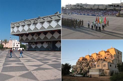 """בניינים נוספים שתכנן הקר בישראל: בה""""ד 1 (למעלה מימין ובכיוון השעון), רמות פולין בירושלים ובית עיריית בת ים (צילום: cc , מיכאל יעקובסון, Nehemia G, ORI)"""