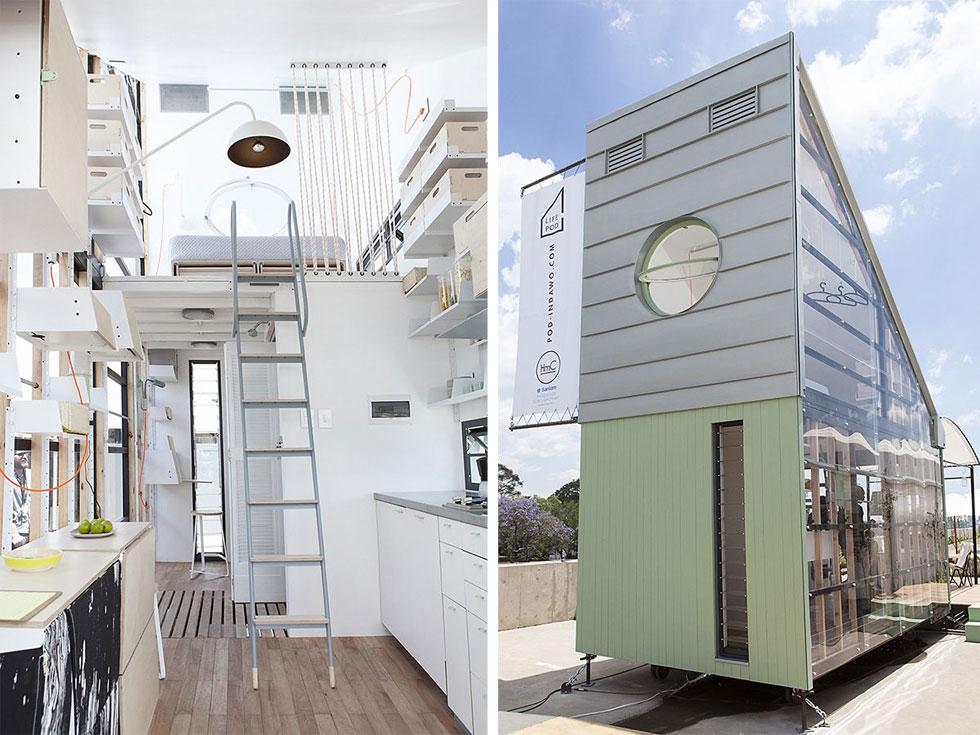 POD-iDLADLA היא קופסת מגורים מתועשת במחיר בר-השגה, שמנסה להגדיר מהו השטח המינימלי הדרוש למחיה. במקרה הזה - 57.6 מ''ר. עכשיו תחשבו מה יקרה כשנערום כמה קופסאות מגורים כאלו אחת על גבי השנייה. עיצוב: Clara Cruz, Collaborate architects, Dokter and Missses (צילום: Brett Rubin)