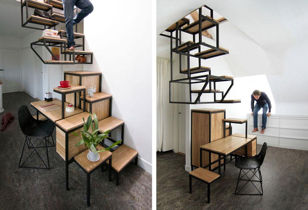 כשמשנים את זווית החשיבה ומנצלים את שטח הדירה לגובה, מדרגות תופסות חלק משמעותי בעיצוב. גם כאן – אי אפשר להסתפק בפונקציה אחת, והן הופכות לרב-תכליתיות. Object Élevé הוא שילוב פיסולי של מדרגות, שולחן עבודה ומדפי אחסון. עיצוב: Mieke Meijer  (צילום: באדיבות Mieke Meijer)