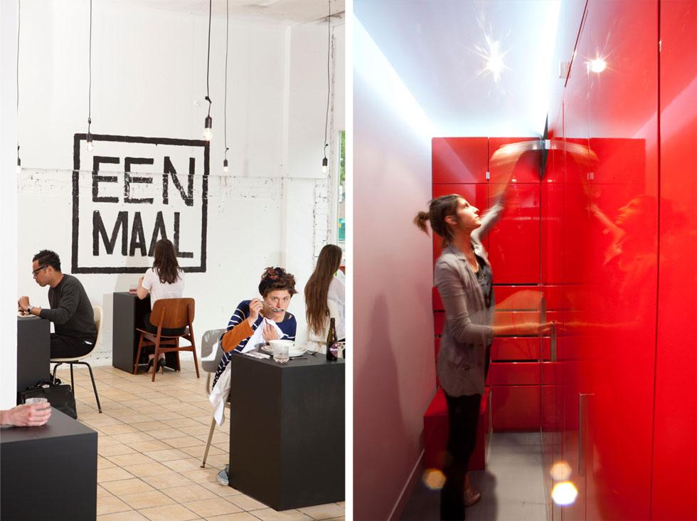 גם הערכים המשפחתיים המשתנים קובעים סדרי גודל וצרכים חדשים. משקי בית יחידניים כוללים קשת רחבה של אנשים – רווקים, גרושים, בני הדור השלישי. בתמונה משמאל מסעדת הפופ אפ Eenmaal באמסטרדם ובלונדון, בקונפסט של ''שולחן לאחד''. עיצוב: MVGCA (צילום: Benjamin Boccas, Jaap Scheeren)