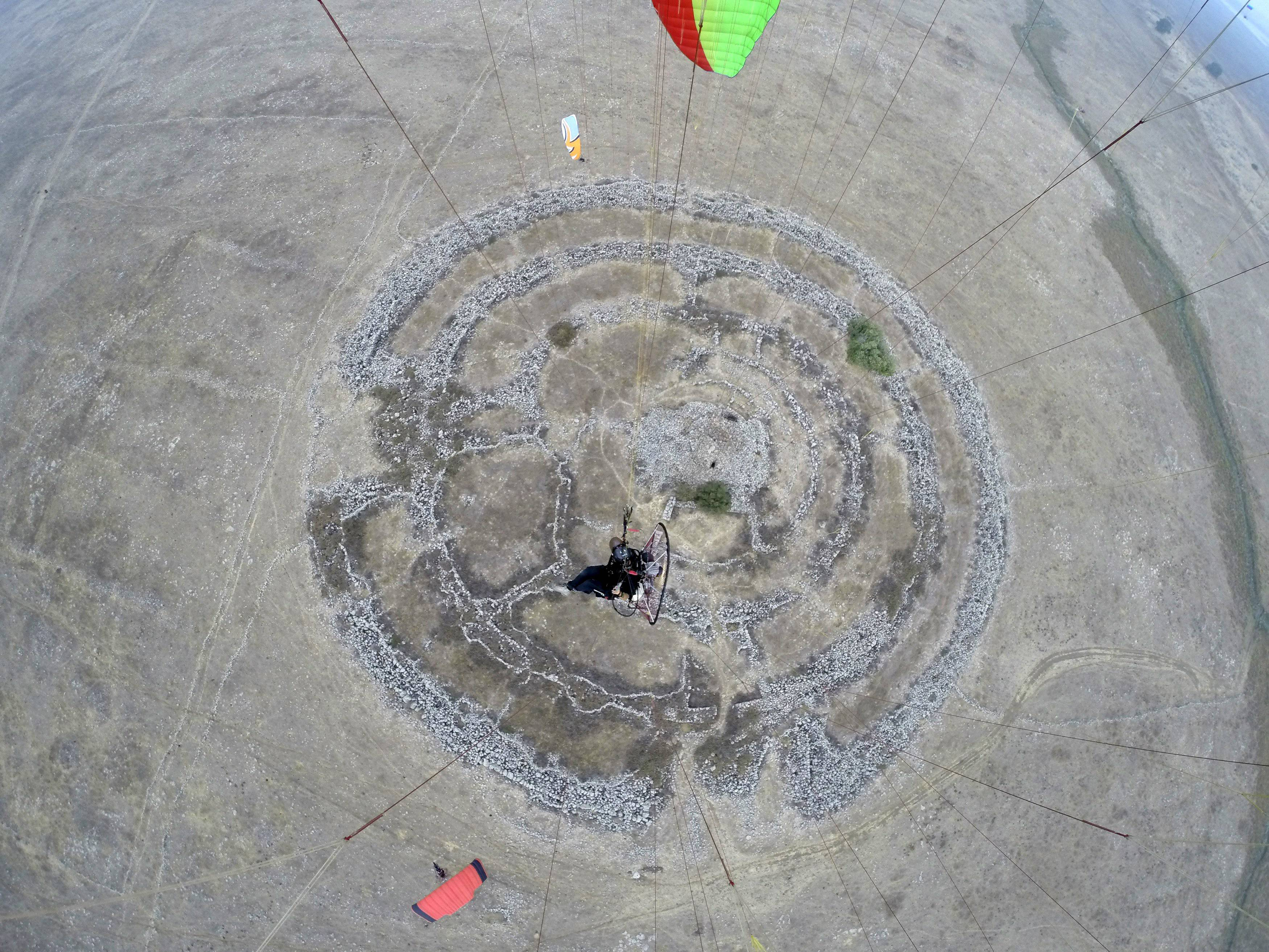 An aerial shot of the 'Stonehenge' structure in the Golan Heights.