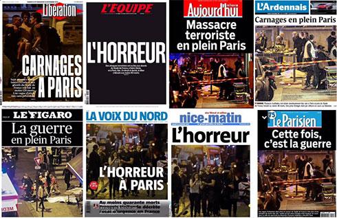 """""""טבח בפריז"""", """"הזוועה"""", """"הפעם, זו מלחמה"""". עיתוני צרפת בעקבות מתקפת הטרור ()"""