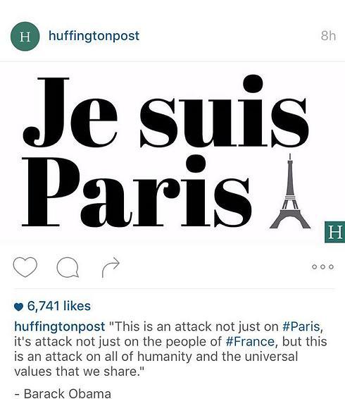"""כמו לאחר הפיגוע בשארלי הבדו. הפניגטון פוסט עם הציוץ: """"כולנו פריז"""" (צילם: מתוך טוויטר) (צילם: מתוך טוויטר)"""