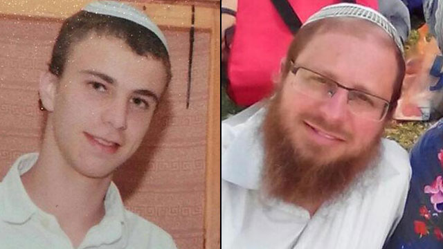 Netanel Litman, left, and his father, Rabbi Yaakov Litman, right, who were murdered in the attack.