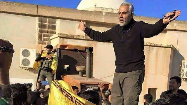 Iranian Revolutionary Guards General Qassem Suleimani in the area of Aleppo, Syria