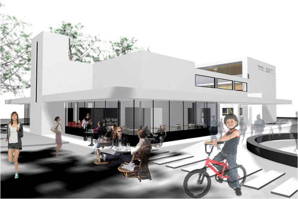 הדמיה: ההצעה של סטודיו 826 לשיקום הבניין. לא רק אולם מופעים אלא גם משרדים, חדרי ישיבות ובית קפה שיגיע עד גן המשחקים הסמוך (הדמיה: סטודיו 826)