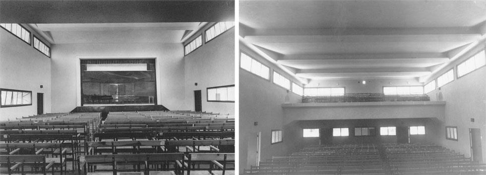 """בית העם בימים אחרים, מבט מהבמה לאולם (מימין) ומהאולם לבמה (משמאל). 630 מ""""ר משמשים כיום כשטחי אחסון (באדיבות ארכיון מושב נהלל)"""
