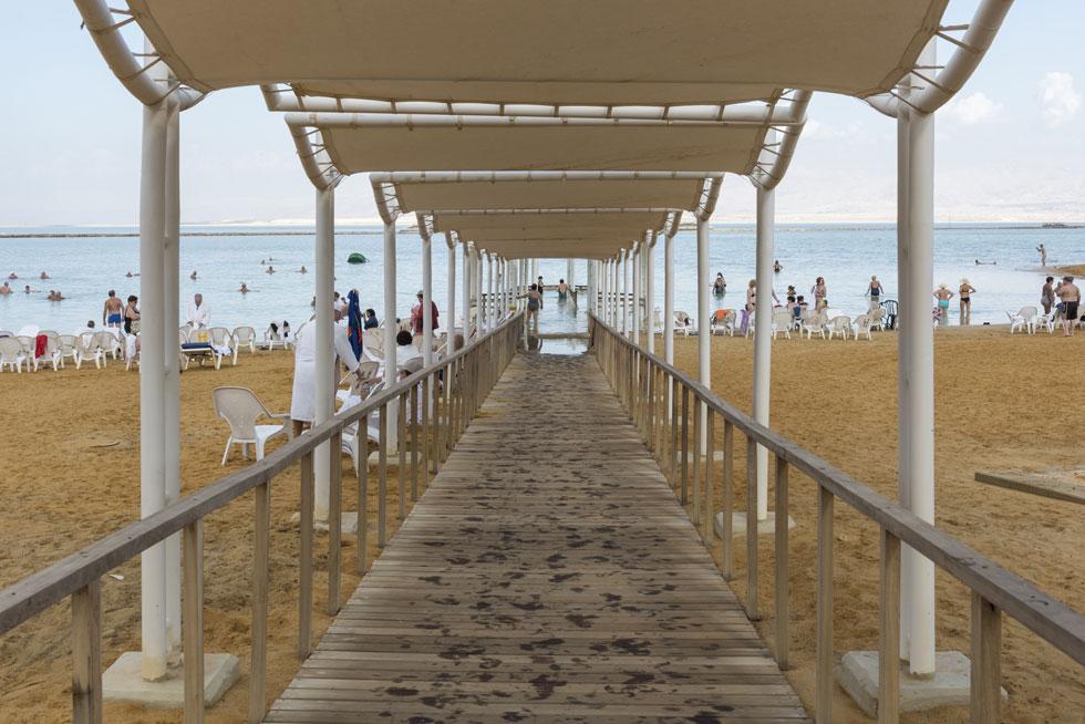 הירידה לחוף החדש בעין בוקק. אדריכלית הנוף הוותיקה עליזה ברוידא הצליחה למנף את המגבלות לתוצר מוצלח (צילום: אלי סינגלובסקי)