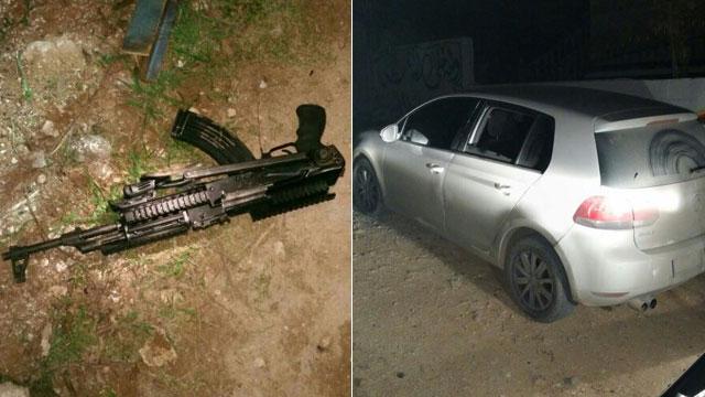 """הנשק ומכוניתו של המחבל (צילום: דוברות שב""""כ) (צילום: דוברות שב"""