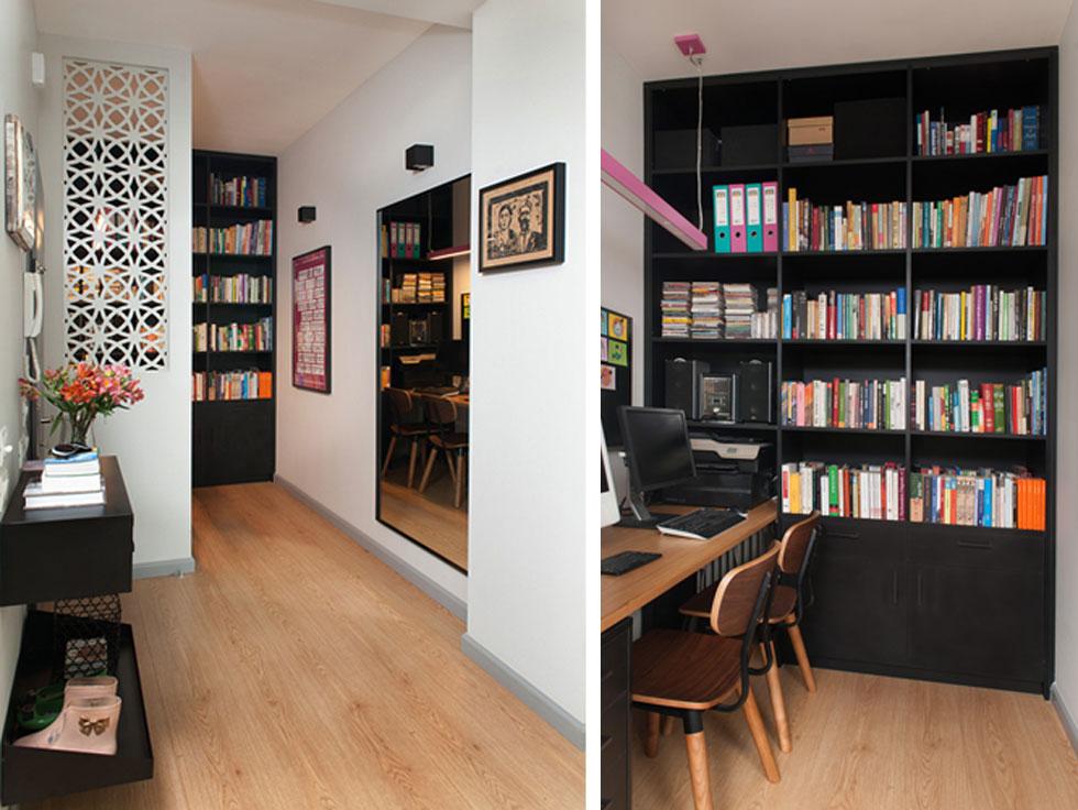 משמאל לדלת הכניסה אזור ללא חלון, שנוצל לטובת פינת עבודה וספרייה גדולה. שולחן העבודה מוסתר באמצעות חצי קיר בסגנון משרבייה (צילום: גלית דויטש)