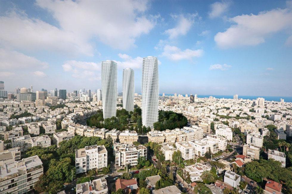 3 מגדלים, 40 קומות האחד, 453 יחידות דיור בסך הכל - ומעטפת מפותלת עם תוספת מרפסות שלא היו במקור (הדמיה: 3DVISION הדמיות ממוחשבות)