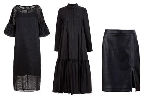 חצאית מבד דמוי עור, 690 שקל; שמלת כותונת באורך מקסי, 980 שקל; שמלת אורגנזה, 950 שקל (צילום: עדי גלעד)