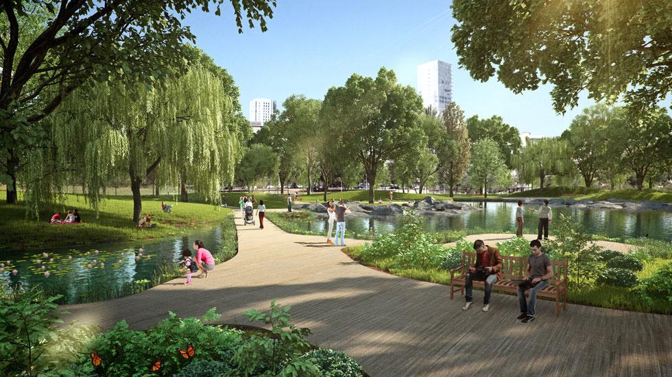 ההדמיות היפות מבטיחות שטח ירוק נאה וציבורי בכיכר, אבל התוכנית החדשה מאפשרת לעירייה לבנות על חשבונו מבנה ציבור, שגובהו יכול להגיע לעשר קומות. עצי השקמה הוותיקים מתוכננים לעבור העתקה כפולה, בתקווה שישרדו אותה (הדמיה: 3DVISION הדמיות ממוחשבות)