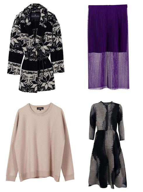 חצאית משי סגולה, 1,150 שקל; שמלת קטיפה, 1,850 שקל; קרדיגן בצבעי שחור ולבן, 1,870 שקל; סווטשירט בצבע פודרה, 920 שקל