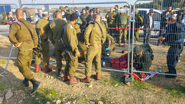 Scene of the attack at Gush Etzion junction where Israeli teenage girl seriously wounded (Photo: Gush Etzion Firefighters)
