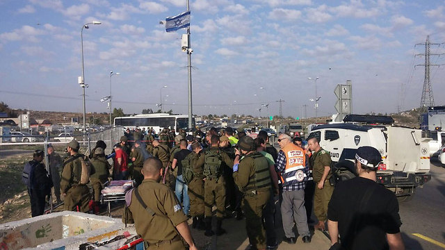 The scene of the terror attack at Gush Etzion junction on Sunday afternoon. (Photo: Gush Etzion Regional Council)